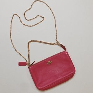 • COACH • hot pink leather crossbody bag